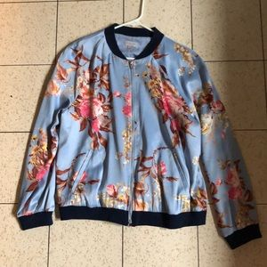 Jackets & Blazers - Polyester bomber type jacket baby blue floral